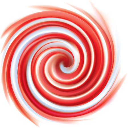 Vector wonderful vortex ripple surface with space for text. Beautiful curl fluid vivid backdrop from red and white bands Vectores