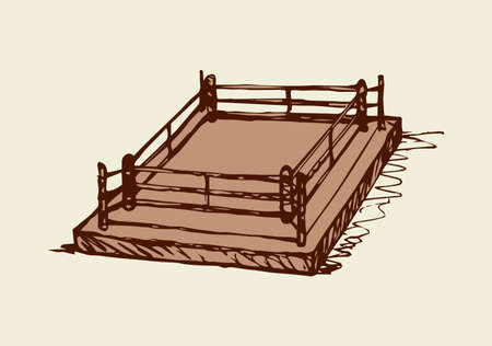 MMA battle contest mat platform with fence isolated on white backdrop. Outline black ink hand drawn picture sketchy in doodle graphic style pen on paper with space for text