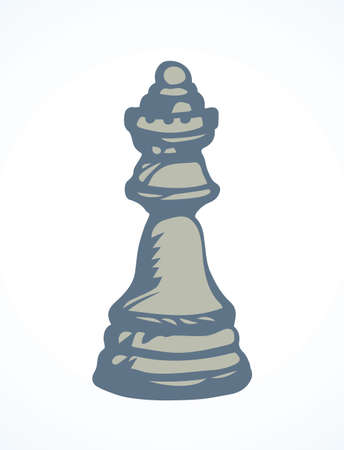 Royal crown lady rank on check board backdrop. Dark line ink hand drawn chessmen winner think toy element emblem sketch in retro art doodle cartoon style pen on paper space for text. Closeup view