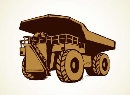 Giant carrier metal tip dirt trash haul dump truck on white sky background. Freehand line black ink hand drawn  sign icon sketch in art modern doodle cartoon style pen on paper with space for text Ilustração