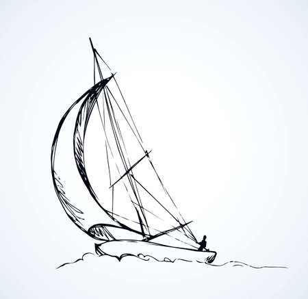 Old small ski keel isolated on white sky background. Jib shallop picture. Freehand line black ink hand drawn sketchy in art retro doodle cartoon style pen on paper. Side view with space for text Ilustração