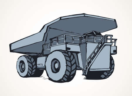 Giant carrier metal tip dirt trash haul dumptruck on white sky background. Freehand line black ink hand drawn