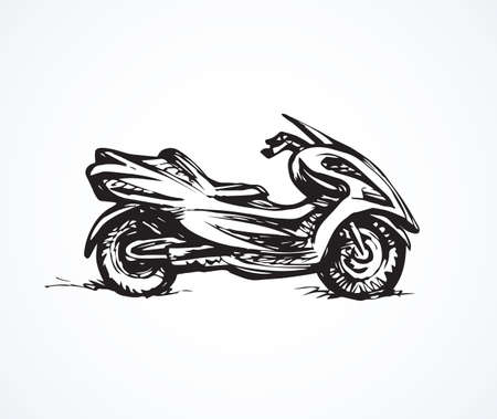 Big power cruiser sportbike stand on light backdrop. Freehand linear dark ink hand drawn picture