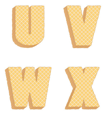 Vector set of stylized symbols consisting of stacked layers of wafers with cream inside.