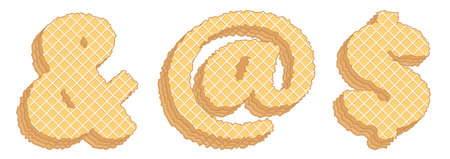 """Vector set of stylized symbols consisting of stacked layers of wafers with cream inside. Signs """"and"""", email, dollar"""