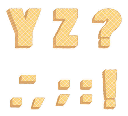Vector set of stylized symbols consisting of stacked layers of wafers with cream inside. Иллюстрация