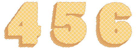 Vector set of stylized symbols consisting of stacked layers of wafers with cream inside. Numerals 4, 5, 6