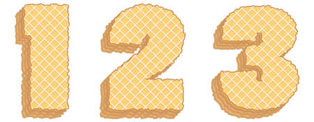 Vector set of stylized symbols consisting of stacked layers of wafers with cream inside. Numerals 1, 2, 3