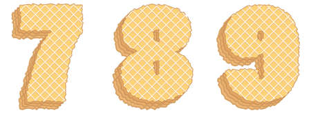 Vector set of stylized symbols consisting of stacked layers of wafers with cream inside. Numerals 7, 8, 9