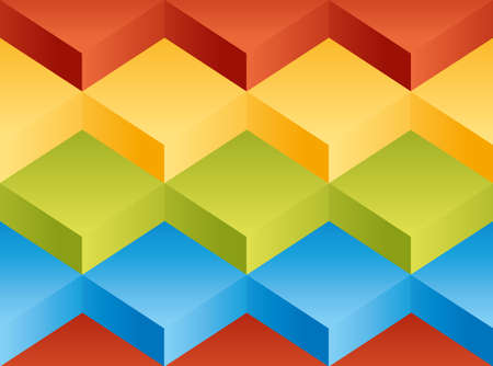 Vector background pattern consisting of square of volume yellow, green, blue and red blocks stacked on one another