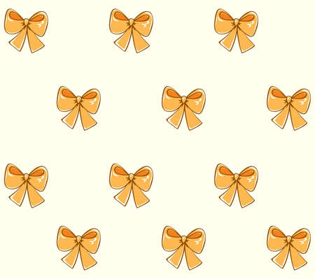 Tileable vintage tender wedding satin vibrant golden bow design isolated on white fond. Freehand outline ink hand drawn sign sketchy in art doodle retro style pen on paper Ilustração
