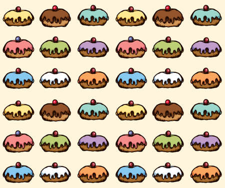 Greet happy party jew hannukah fast cafe meal isolated on light beige backdrop. Tileable bright color hand drawn round hanukiah fat sweet sugar glaze frost soft cookie design art retro doodle cartoon vector
