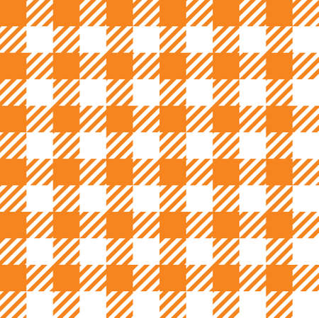 Tileable endless abstract rug bright carrot color straight line shape template in old simple rural country classical style. Repetition of vibrant stripes. Close-up top detail view with space for text Illustration