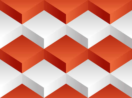 Vector background pattern consisting of a white and red square of volume blocks stacked on one another