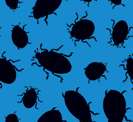 Large cute melolonthinae on deep cyan backdrop. Dark ink color hand drawn picture   in art retro print style. View closeup with space for text