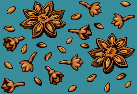 Indian natural yellow badiam pod of anice crop product on vibrant teal fond. Bright brown hand drawn picture symbol sketchy in retro art doodle cartoon graphic style. Tileable vintage closeup macro view