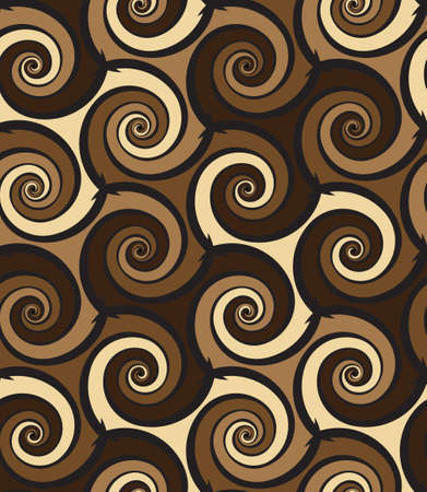 Tileable creative sinuous warp op twisty shape tracery light beige with dark coffee color curvy bent stripes. Retro art billowy curvy wavelike form meander winding style distorted template fond