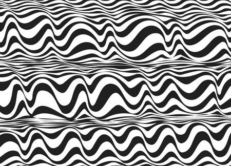Tileable sinuous warp twisty shape tracery contrast colors squiggly bent strokes. Billowy curvy zigzag wavelike winding distorted fond in art retro wrapping style ink on paper Illusztráció