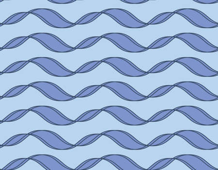 Tileable endless wavelike sinuous shape light navy color squiggly thin bent stripes on cyan wallpaper. Billowy curvy form template in art retro style. Macromolecule clone code sign 免版税图像 - 157844286