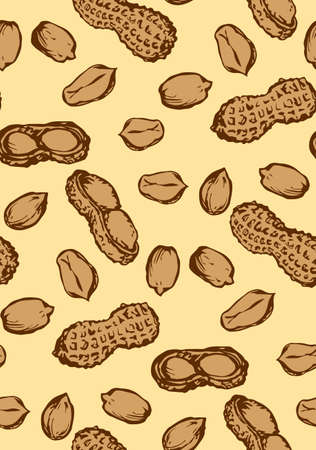 Small ripe raw tasty Arachis hypogaea pods on beige backdrop. Freehand outline ink hand drawn picture object sketchy in art vintage scribble style pen on paper. Closeup tileable view