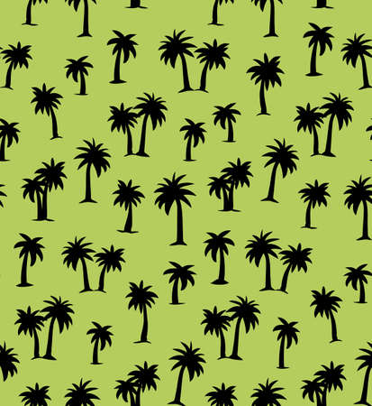 Summertime african rainforest scenic view on green plantation fond. Freehand outline black ink hand drawn eco floral palm tree  icon design in retro art scribble engrave print style pen on paper