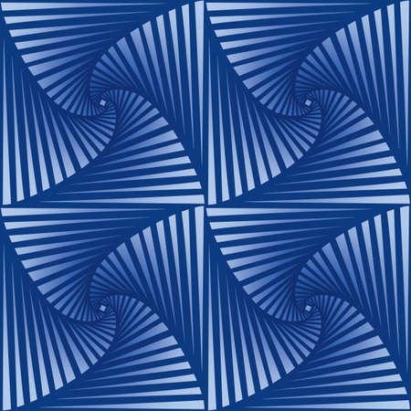 Tileable art quadrangle salient shape optical illusion op volumetric trickery form tracery template. Blue and cobalt tile creative recurring concave zig zag whirlpool torsion fan blades grid backdrop 免版税图像 - 157844430