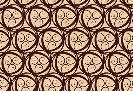 Tileable recurring warp op twisty shape light beige color with dark brown curvy ribbon with intricate nodes. Retro graphic art style billowy spin wavelike form meander template fond surface