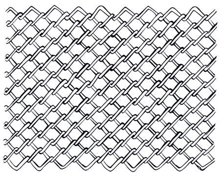 Dark gray color thin repeat bent shape thread fond. Billowy braid iron chainlink curvy form template. Freehand outline black ink hand drawn sketch in retro art doodle cartoon style