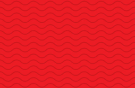 Tileable sinuous warp twisty form tracery bright scarlet color with dark squiggly bent strokes. Billowy curvy zigzag wavelike template in winding style 免版税图像 - 157844721