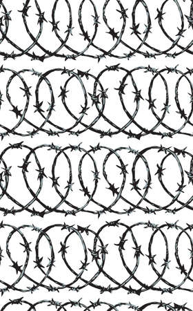Obstacle spiral shape bob razor wire row set isolated on white backdrop. Freehand outline ink hand drawn picture sign sketch in art scribble retro style pen on paper. Closeup view with space for text