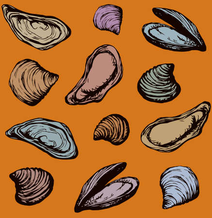 Big fresh perl Ostreidae mollusc on golden backdrop. Outline black ink hand drawn french diet delicacy dining icon sign design sketchy in retro art cartoon doodle engraved style pen on orange paper