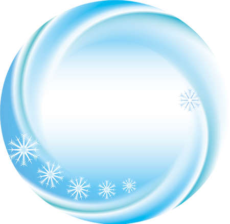 Winter holiday vector background as a round frame with snowflakes