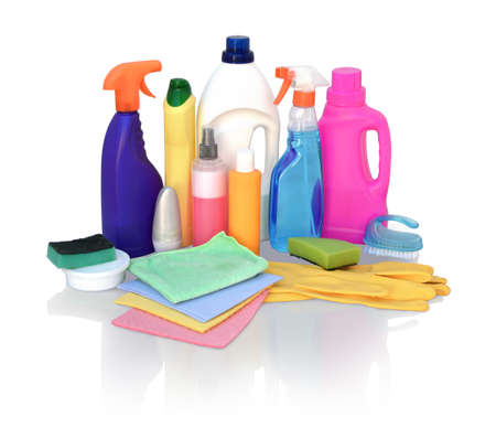 Still life of assortment of various bright means for cleaning isolated on white background. Bathroom cleaner, cleaner for glass, cleaner for metal products, concentrated air freshener, wipes Banco de Imagens