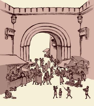 Orient biblical religion heritage vendors women scene view. Antique fes arch gate fortress building on white background. Black hand saudi rabat bazar quarter picture sketch in vector art graphic style