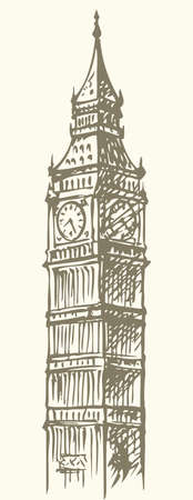 Big Ben in Elizabeth Steeple, old Great Bell at Westminster abbey Palace. Vector freehand ink drawn background sketch in art doodle retro style pen on paper. Panoramic view with space for text on sky