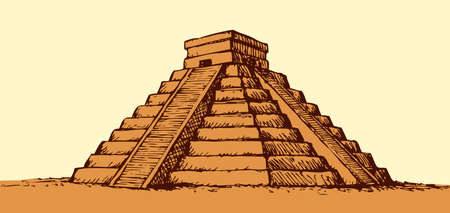 Chichen Itza Tulum the Kukulcan crypt tomb pyramid El Castillo, Carmen. Vector monochrome freehand ink drawn background sketch in art scribble antiquity style pen on paper with space for text on sky 矢量图像