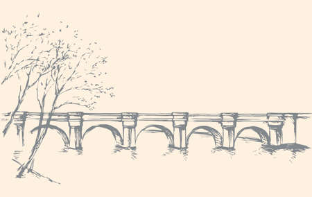 Aged bridgework path on pond bank scene. Freehand line black ink hand drawn brook picture sketchy in art retro doodle cartoon style pen on paper. Panoramic scenic view with space for text on white sky