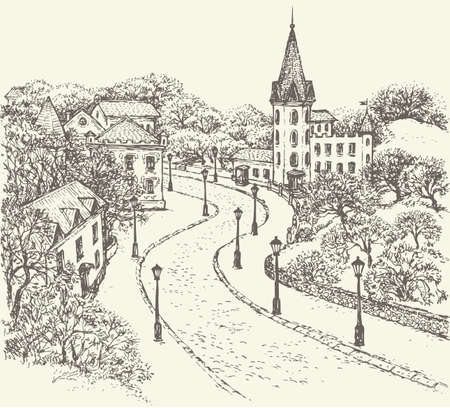 Vector landscape. Cobblestone street of the old town descends down along the fenced park and ancient castle