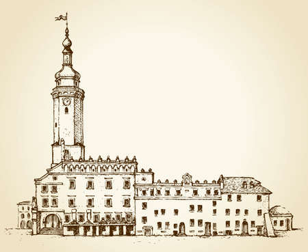 High brick building Lviv city hall with porches for market trade and transactions. Waving flag on the spire of the dome. Vector monochrome freehand ink drawn background sketchy in scrawl antiquity style of pen on paper with space for text