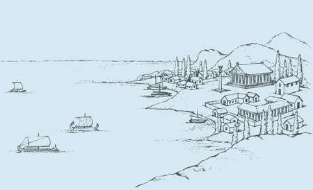 Rocky seashore, classic minoan colony in bay dock: port, antiquity pagan pavilion, statue on column, huts on hill, sail trireme and galley in harbor. Freehand sketch ink background. Bird's eye view