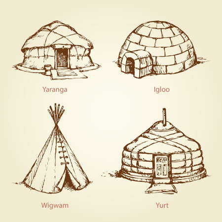Old nomad rural handmade camp cabins isolated on white background. Archaic ethnic historic edifice culture. Freehand outline black ink hand drawn picture in art retro doodle cartoon style pen on paper