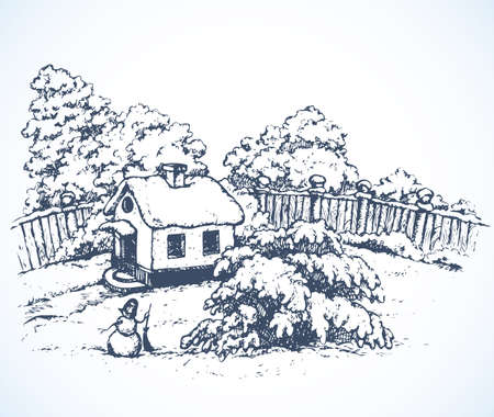 Cute cozy wooden chalet edifice isolated on light backdrop. Freehand outline black ink hand drawn picture sketchy in art retro doodle graphic style pen on paper. Scenic view with space for text on sky