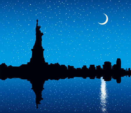 Big woman sculpture on Island in NY Harbor. graphic drawing urban scene. Dark picture backdrop with space for text on blue gloaming crepuscule starry heaven. Modern scenic nature water view