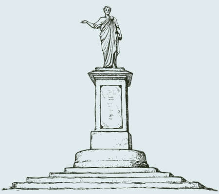 Monument to Duke de Richelieu. Odessa, Ukraine. French aristocrat, mayor of Odessa, Governor-General of Novorossiysk Territory. Vector monochrome freehand drawn sketching background in style of antiquity pen on paper. Bird's eye view with space for text Illustration