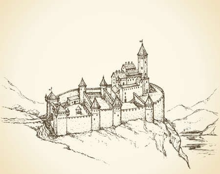 Castle Romanesque over mountain gorge. Vector monochrome freehand ink drawn background sketchy in art scribble antiquity style pen on paper with space for text. Plan view from top with space for text on sky 向量圖像