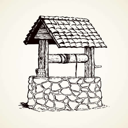 Vintage rusty stone well covered tiled roof in green village yard. Vector monochrome freehand linear ink drawn background sketchy in art scribble antique style pen on paper with space for text on sky