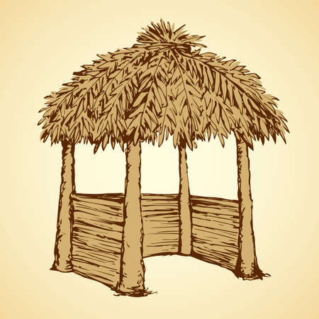 Romantic cozy sea coast place isolated on white sky background. Retro thai rest spa sala bar with old straw roof. Freehand outline ink drawing picture sketch in art vintage doodle style pen on paper