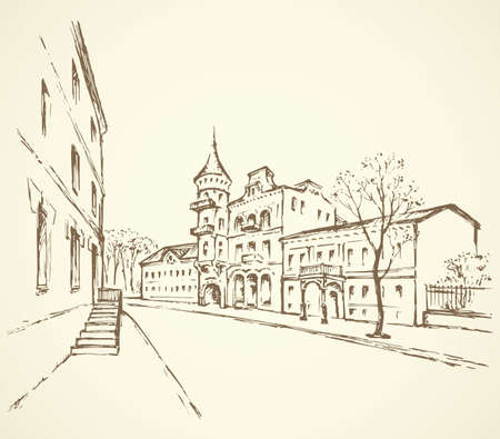 Aged romantic downtown square place with medieval edifice and space for text on sky backdrop. Ukrainian scenic view. Freehand outline ink drawn picture sketchy in art retro scribble style pen on paper