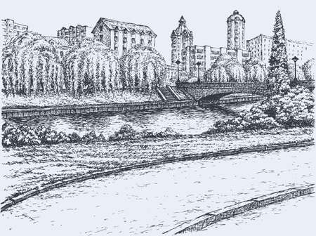 Vector freehand landscape. Panoramic views of the river promenade with willow trees and a bridge with lanterns in front of apartment buildings and offices of the big city Vector Illustration