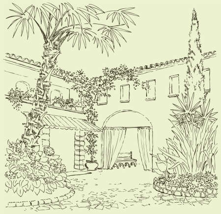Vector landscape. A sketch of the eastern courtyard with flower beds, cypress and palm trees Ilustração